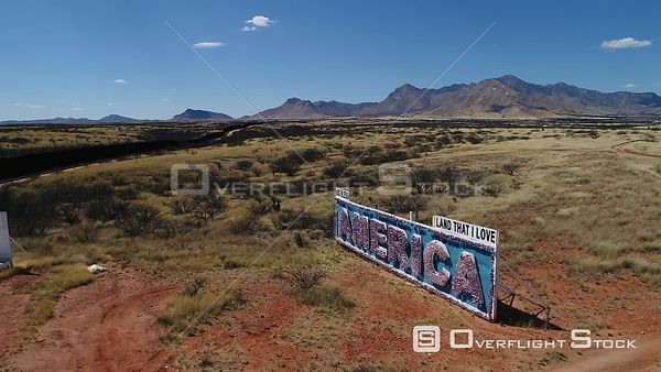 Near Rio Santa Cruz River at US Mexico Border America Sign