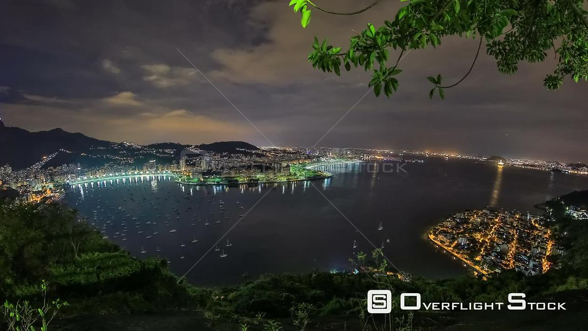 Rio de Janeiro Brazil Rio De Janeiro cityscape panning time lapse at night from lower Sugar Loaf Mountain using HDR
