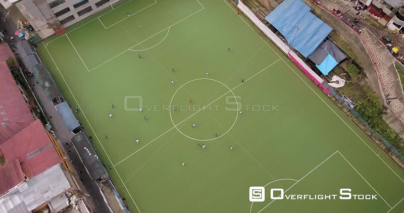 Footbal Pitch in Village of Aguas Clientes Peru in th High Andes nead Machu Picchu