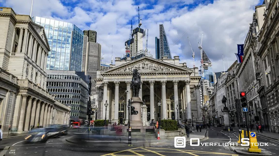 Time lapse view of the Royal exchange  near the Bank of England, in the City of London
