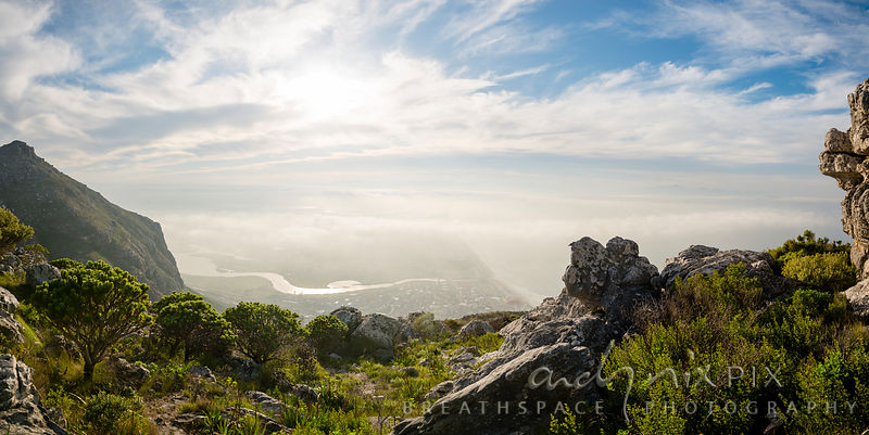 Looking down to the village and vlei from the peak