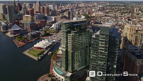 Baltimore Maryland Aerial Panning birdseye flying close up looking down over tall downtown buildings