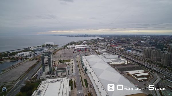 Toronto Ontario Panning above Niagara convention center and stadium