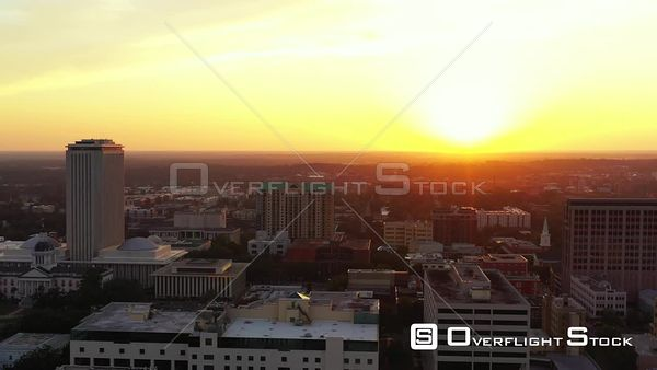 Aerial video Downtown Tallahassee FL sunset behind city