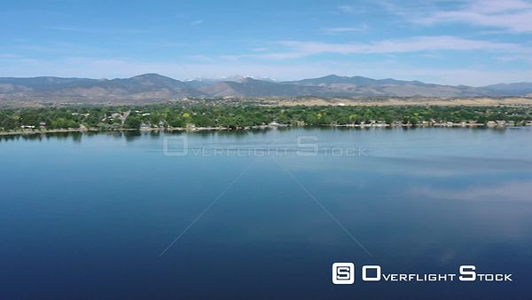 Rocky Mountains, blue water and blue sky, Loveland, Colorado, USA
