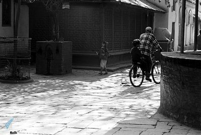 Father & son on a bicycle