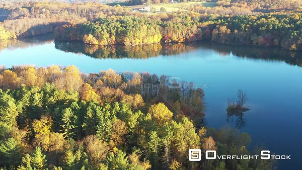 Island on a Lake with Fall Colors, Owings Mills, Maryland, USA