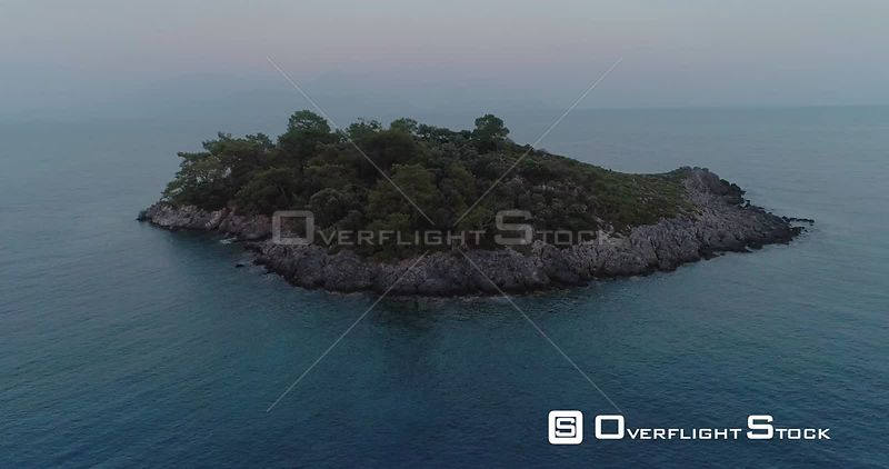 Aerial View of Flying Over Island in Aegean Sea Turkey