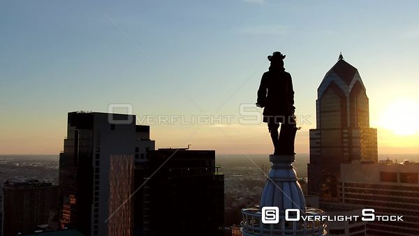Philadelphia, Pennsylvania Golden Hour Hover of William Penn Statue at City Hall Includes Skyline