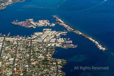 Shipping Port and Industry Capital City Papeete on Tahiti French Polynesia