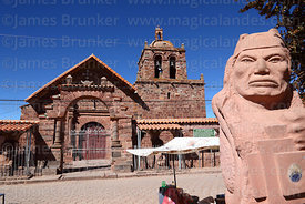 Statue of Tiwanaku period priest / authority in main square and San Pedro church, Tiwanaku, La Paz Department, Bolivia
