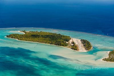 Airport on Tetiaroa Atoll Tropical Islands of French Polynesia