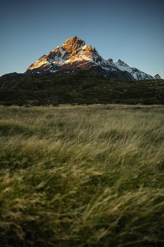 Sunlight on jagged mountain peaks, Torres del Paine National Park, Last Hope Province, Magallanes Region, Chile, South Americ...