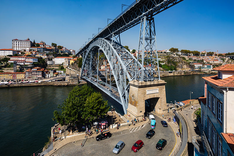 View of the Ponte Luis 1 Bridge which Joins Gaia and Ribeira