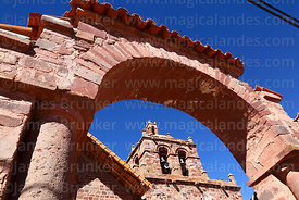 Belfry and main entrance archway of San Pedro church, Tiwanaku, La Paz Department, Bolivia