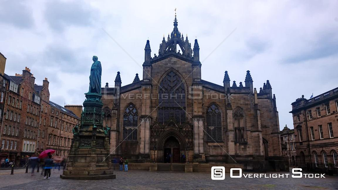Timelapse View of St Giles Cathedral in the Old Town in Edinburgh Scotland