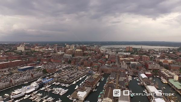 Portland Maine USA Flying low over city and harbor panning