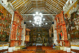 View along nave towards main altar of church of the Señor de la Cruz, Carabuco, La Paz Department, Bolivia