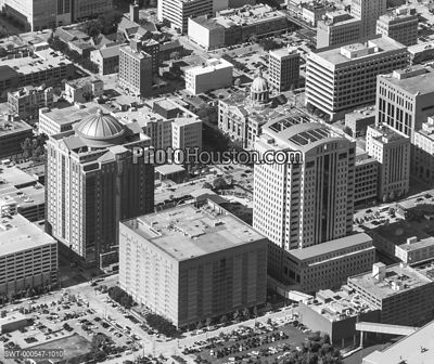 Aerial photo of the Harris County Courthouse Complex in downtown Houston