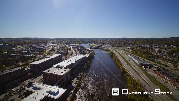 Manchester New Hampshire Traveling north, fast over Merrimack River veering off to follow Canal street path