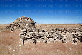 House and corral in a Chipaya community made from flat, sedimentary, stromatolite rocks, Oruro Department, Bolivia