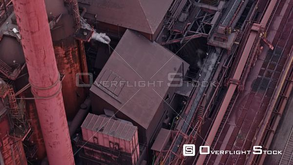 Hamilton Industrial Sector Ontario Flyover birdseye detail of Industrial Sector plant with conveyer belt in motion