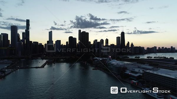 Sunset on Navy Pier Downtown Chicago Illinois Drone Aerial View