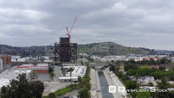 Ballona Creek Drainage Commercial and Residential Areas Los Angeles at Culver City California Drone Aerial View