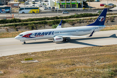 Aerial Image of Ok-tsi Travel Service Airlines Boeing 737-900er Ready for Takeoff at the Rhodes International Airport Greece