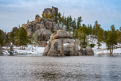 An overlooking view of nature in Custer State Park, South Dakota