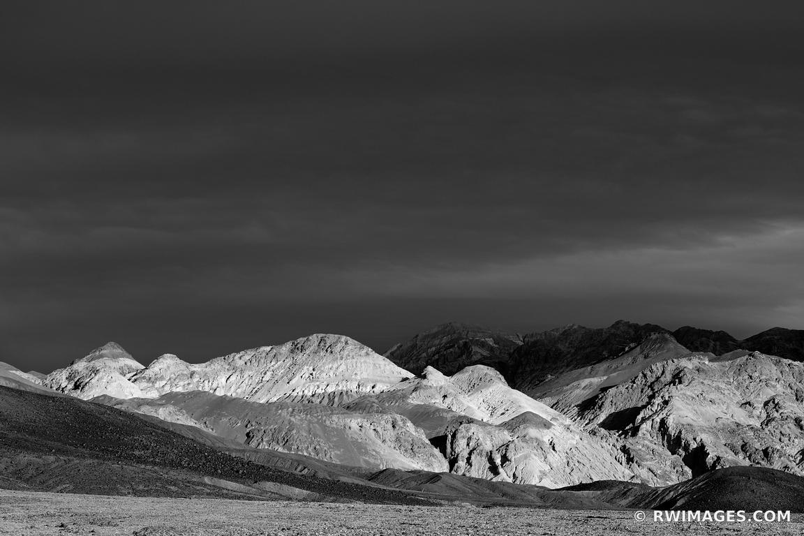 ARTISTS DRIVE SUNSET LIGHT STORMY SKIES DEATH VALLEY CALIFORNIA AMERICAN SOUTHWEST DESERT BLACK AND WHITE LANDSCAPE