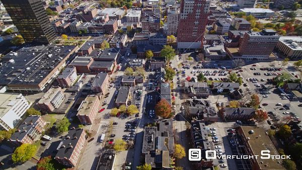 Manchester New Hampshire Slow panoramic to birdseye to reverse downtown cityscape