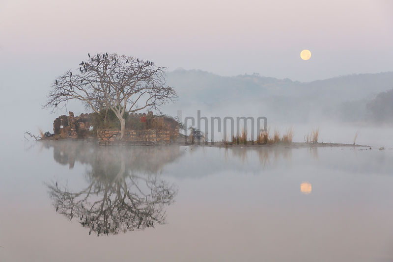 Reflection of a Ruin in Padam Talao (Lake) during a Full Moon