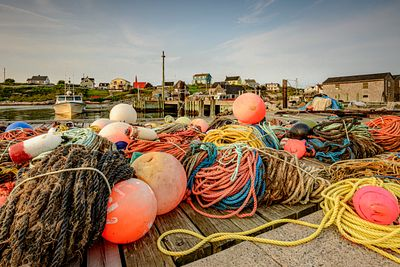 Coils of fishing gear left on a dock in Peggy's Cove