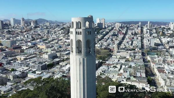 Coit Tower Telegraph Hill Residential San Francisco California Drone Aerial View