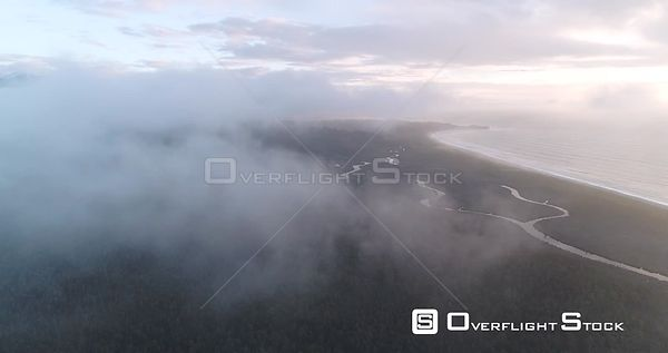 Fly Through Clouds Towards Gillespie Beach New Zealand West Coast