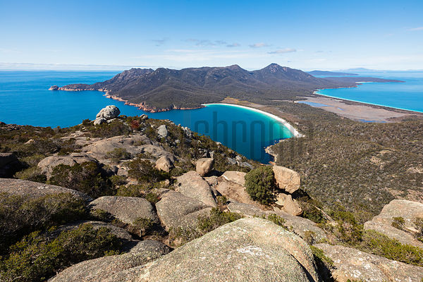 Elevated View of Wineglass Bay from the Summit of Mt Amos