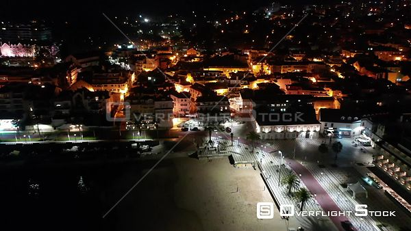Nighttime Drone Video Cascais Portugal