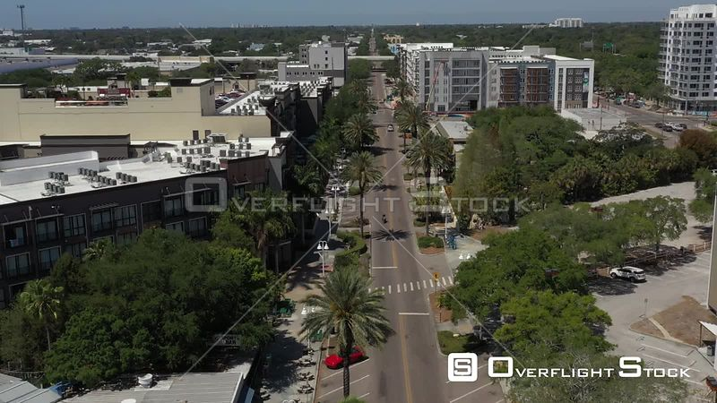 Aerial Footage Downtown St. Petersburg Florida Covid 19 Empty Central Ave Condos