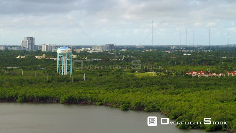 Aerial video Hollywood Florida water tower 4k
