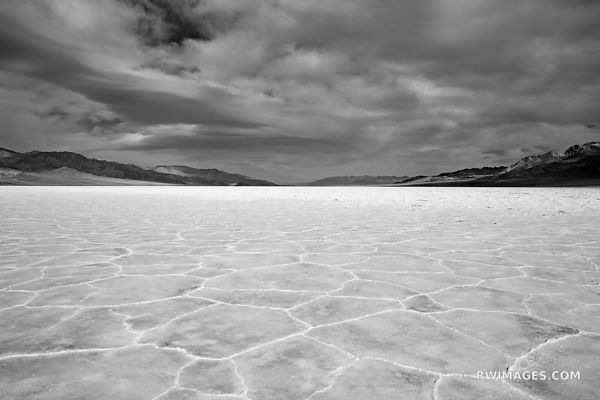 SALT FLATS BADWATER BASIN DEATH VALLEY CALIFORNIA BLACK AND WHITE