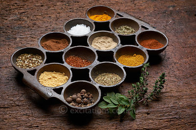 Tray of assorted spices.