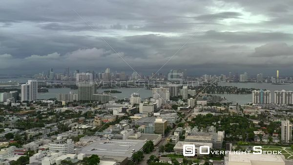 Heavy storms dark thick cloud overcast Miami Florida USA aerial 4k video