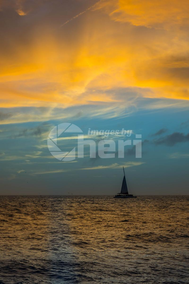 Dramatic vibrant sunset scenery in Key West, Florida