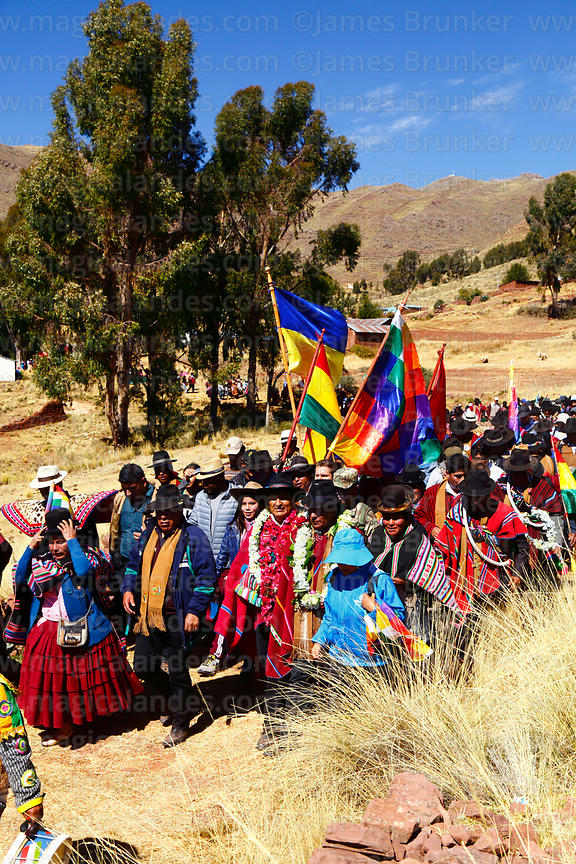 Bolivian president Evo Morales Ayma (centre) leads an International Hike along a section of the Qhapaq Ñan Inca road between ...