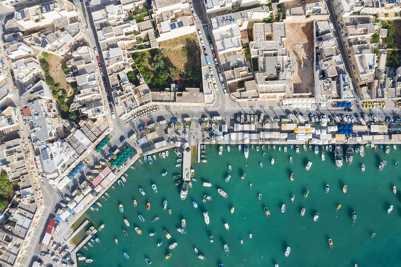 Aerial View of the Fishing Harbour at Marsaxlokk on Market Day (Sunday)