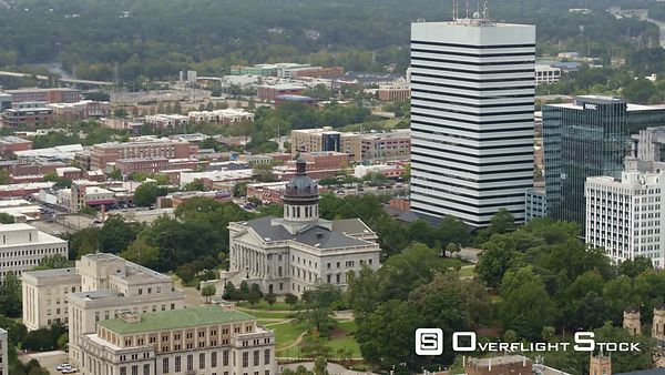 South Carolina Columbia Aerial Panning cityscape view with Capitol in foreground