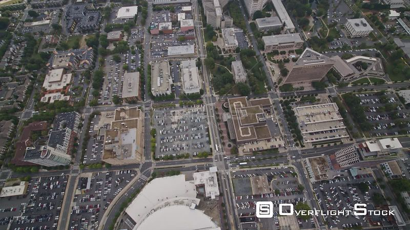 North Carolina Charlotte Aerial Vertical detail view of rooftops, parking, cars, transportation