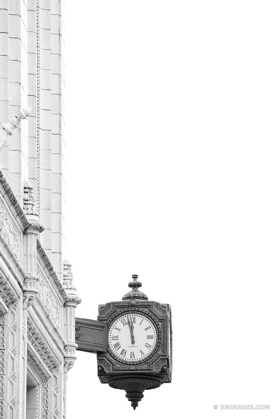 STREET CLOCK AND LAMP WASHINGTON DC BLACK AND WHITE