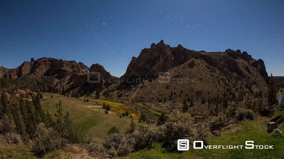 Oregon USA Smith Rocks panning time lapse with stars and bright moon light.